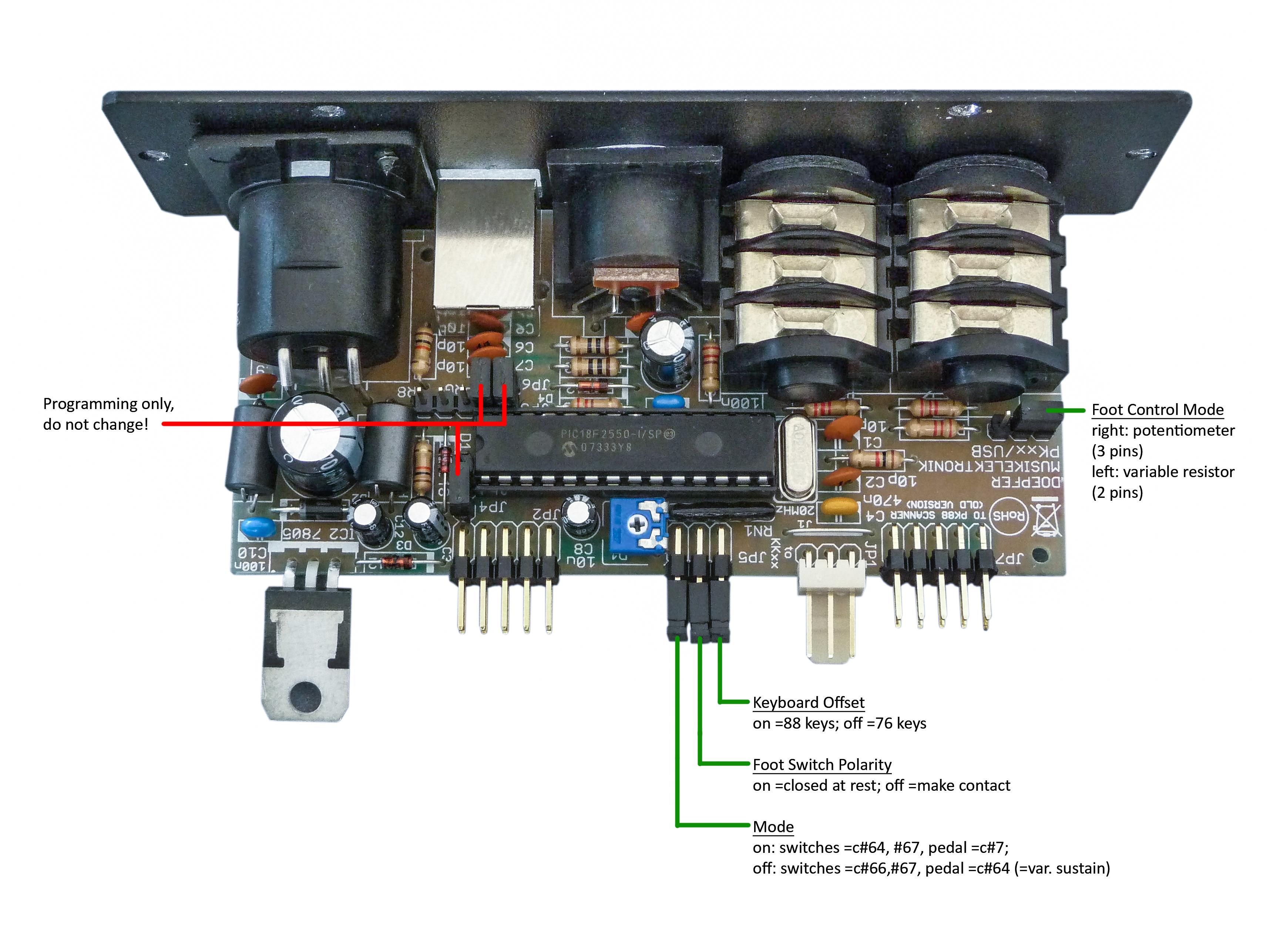 Pk88 Info Keyboard Sustain Pedal Wiring Diagram Usb Jumper Settings